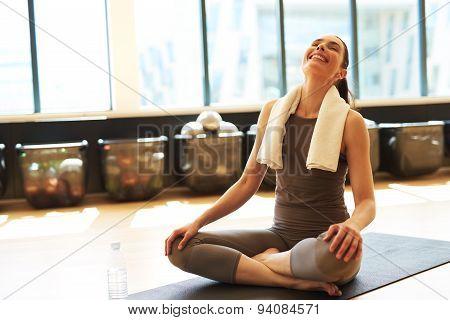 Smiling Brunette In Gym