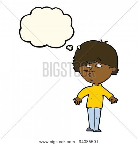 cartoon suspicious man looking over shoulder with thought bubble poster