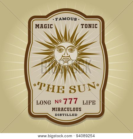 Vintage Retro The Sun Potion Label