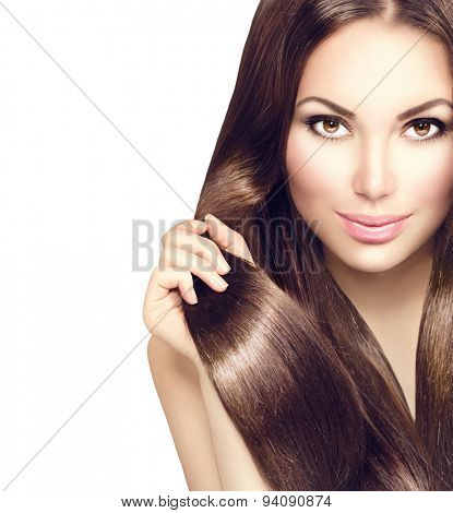 Beauty Model girl with Healthy Brown Hair. Beautiful brunette woman touching her long smooth shiny straight hair. Hairstyle. Hair cosmetics, haircare. Hair care, extensions. Isolated on white poster