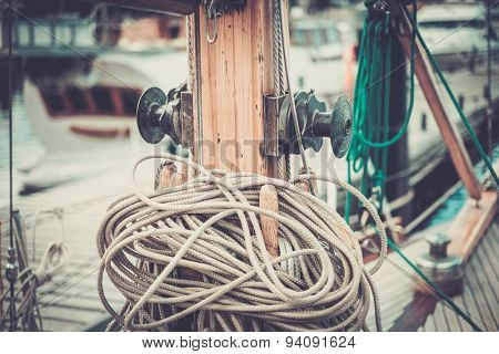 Cables and ropes on a yacht