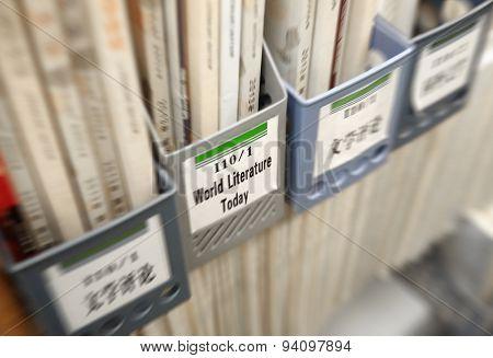 Books in book case