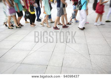 Busy urban street people