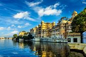 Romantic India luxury tourism wallpaper  - Udaipur City Palace and Lake Pichola. Udaipur, Rajasthan, India poster