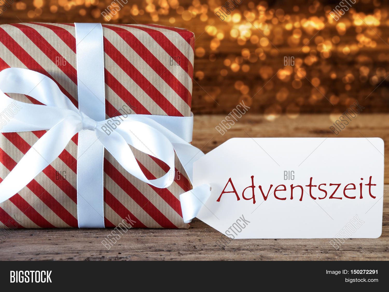 Macro christmas gift image photo free trial bigstock macro of christmas gift or present on atmospheric wooden background card for seasons greetings m4hsunfo