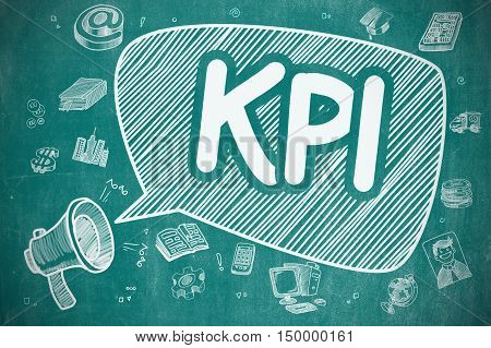 Business Concept. Megaphone with Text KPI - Key Performance Indicator. Cartoon Illustration on Blue Chalkboard.