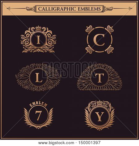 Luxury logos monogram. Vintage royal flourishes elements. Calligraphic symbol ornament. Letter in frame , I, C, L, T, 7, Y.