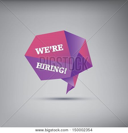 We are hiring job offer poster or background with low polygonal object in 3d space. Eps10 vector illustration.