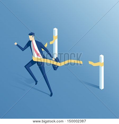 businessman crosses the finish line isometric employee comes to the finish line first