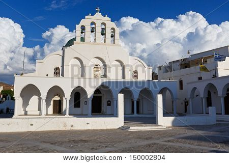 NAXOS, GREECE - SEPTEMBER 21, 2016: Metropolitan cathedral of the Greek orthodox church in town of Naxos on September 21, 2016.