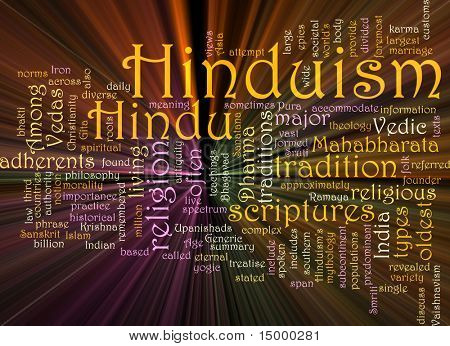 Word cloud concept illustration of  Hinduism religion glowing light effect