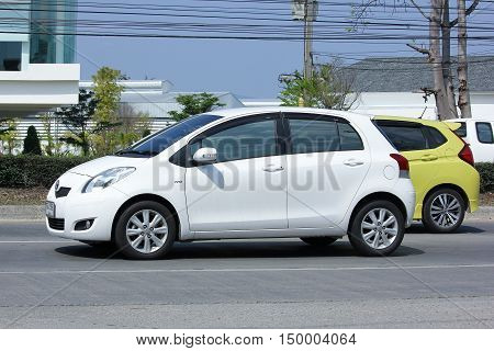 CHIANGMAI, THAILAND -FEBRUARY 29 2016: Private car, Toyota Yaris. Photo at road no.121 about 8 km from downtown Chiangmai, thailand.