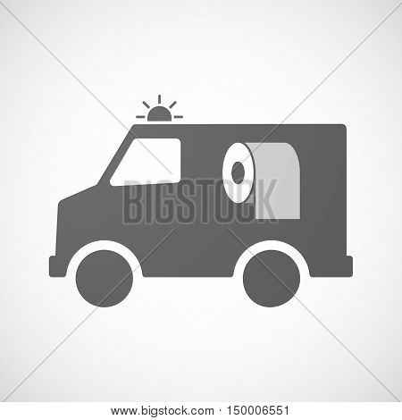 Isolated Ambulance Icon With A Toilet Paper Roll