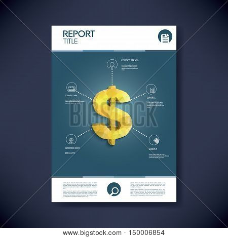 Project management infographics template concept with low polygonal golden dollar sign and icons. Space for your text. Eps10 vector illustration