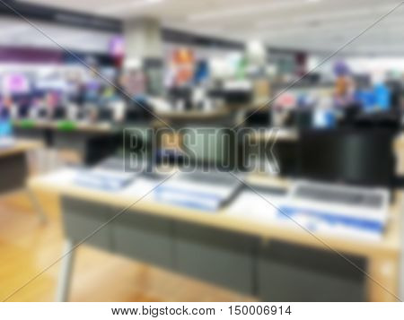 Abstract blurred people shopping in department store : IT shop / Laptop shop/Notebook shop