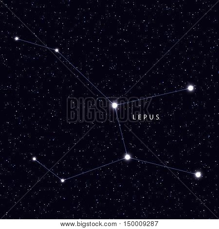 Sky Map with the name of the stars and constellations. Astronomical symbol constellation Lepus