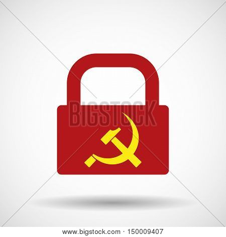 Isolated Lock Pad Icon With  The Communist Symbol