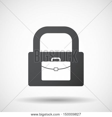 Isolated Lock Pad Icon With  A Briefcase
