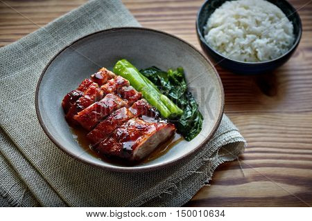 Chinese Barbecue Pork with rice HongKong food