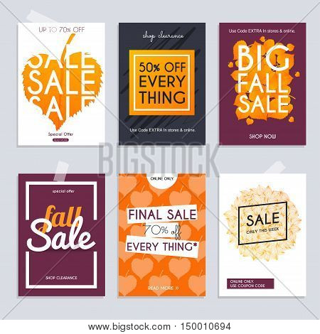 Fall sale. Set media banners with discount offer. Shopping background label for business promotion. Can be used for website and mobile banners web design posters email and newsletter designs.