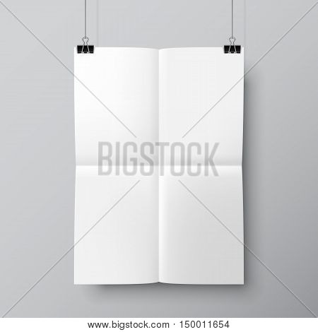 Blank folded paper list hanging on two pins. Poster mock-up template