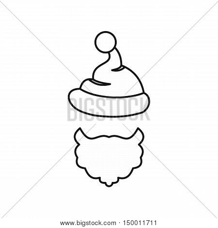 Christmas hat with pompom and beard of Santa Claus icon in outline style isolated on white background. New year symbol vector illustration