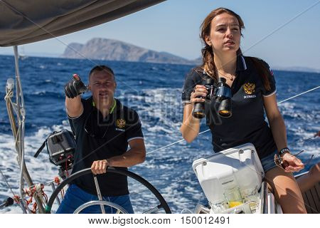 ERMIONI, GREECE - SEP 28, 2016: Russian sailors participate in sailing regatta 16th Ellada Autumn 2016 among Greek island group in the Aegean Sea, in Cyclades and Saronic Gulf.