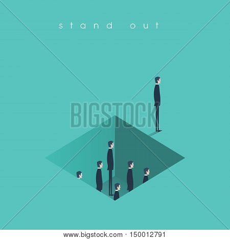Standing out from the crowd business concept with other businessmen in hole. Talent or special skills symbol. Eps10 vector illustration.