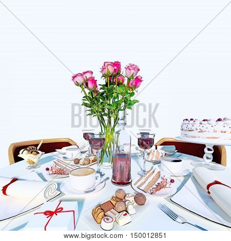 Holiday table setting in white color. 3D illustration