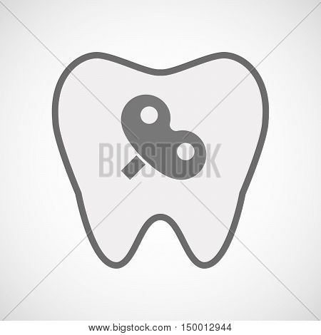 Isolated Line Art Tooth Icon With A Toy Crank