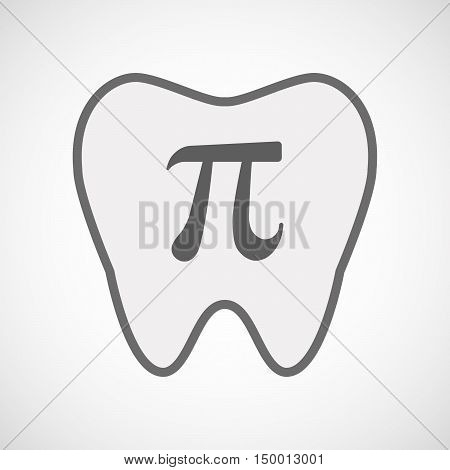 Isolated Line Art Tooth Icon With The Number Pi Symbol