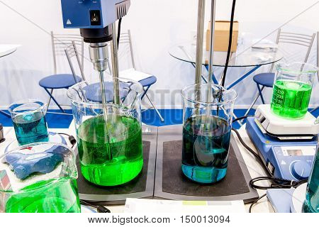 Mixing and stirring equipment in lab interior