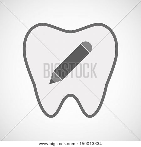 Isolated Line Art Tooth Icon With A Pencil