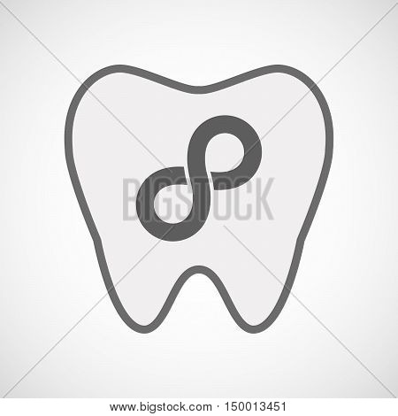 Isolated Line Art Tooth Icon With An Infinite Sign