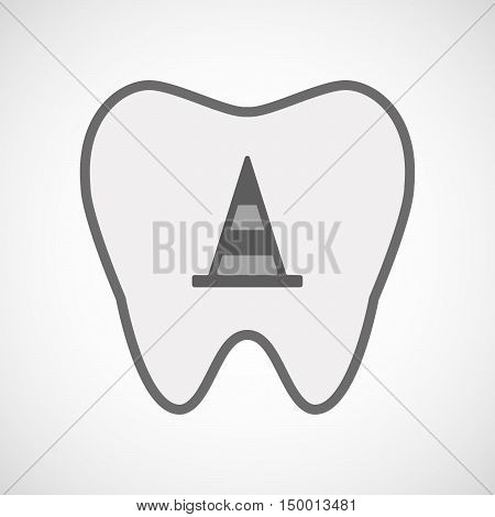 Isolated Line Art Tooth Icon With A Road Cone