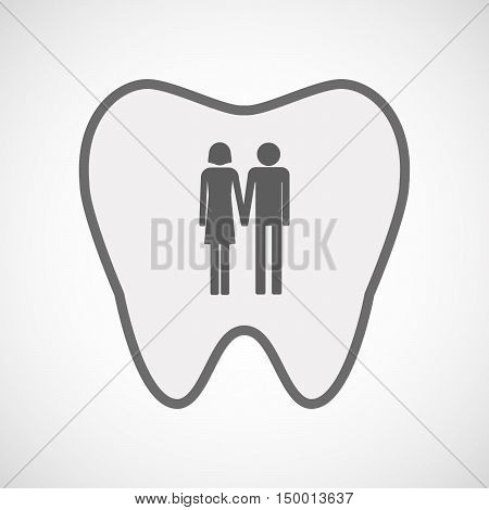 Isolated Line Art Tooth Icon With A Heterosexual Couple Pictogram