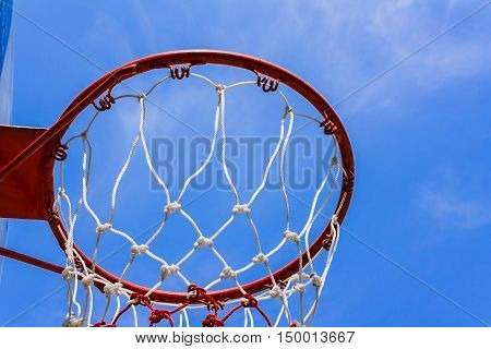 A view of a basketball hoop from below