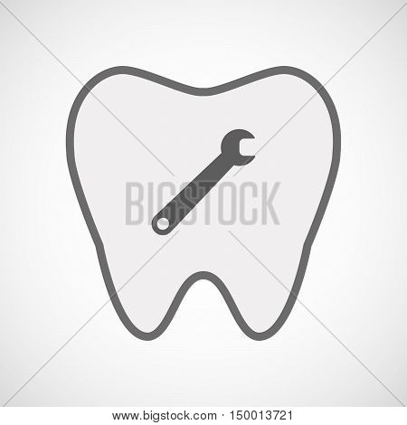 Isolated Line Art Tooth Icon With A Spanner