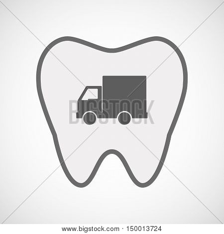 Isolated Line Art Tooth Icon With A  Delivery Truck