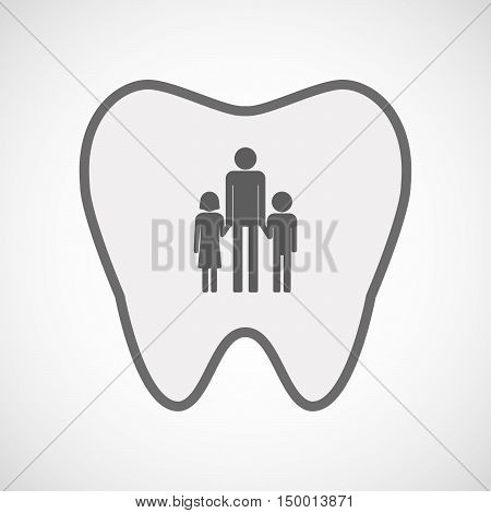 Isolated Line Art Tooth Icon With A Male Single Parent Family Pictogram