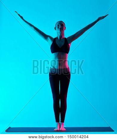 woman yoga exercices Tadasana mountain pose