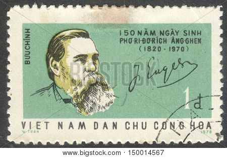 MOSCOW RUSSIA - CIRCA SEPTEMBER 2016: a stamp printed in VIETNAM shows a portrait of Friedrich Engels the series