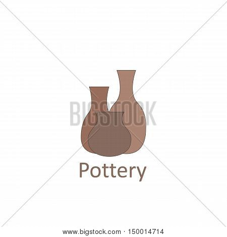 Clay pots. The emblem or logo pottery workshop and store. Vector illustration.