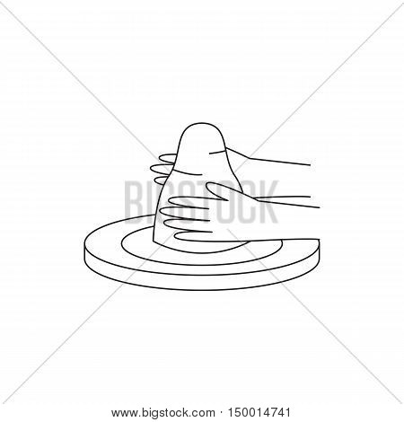 Icon potter's wheel with a piece of clay and hands. Vector illustration.
