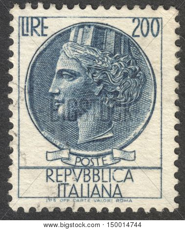 MOSCOW RUSSIA - CIRCA SEPTEMBER 2016: a post stamp printed in ITALY shows an ancient coin of Syracuse the series