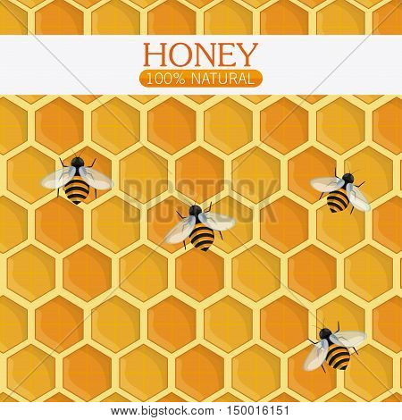 Honeycomb with bees background. Honey healthy and organic food theme. Colorful design. Vector illustration