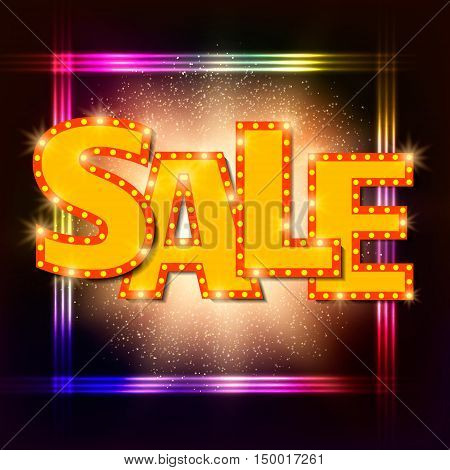 Shining sale background on black. Vector illustration