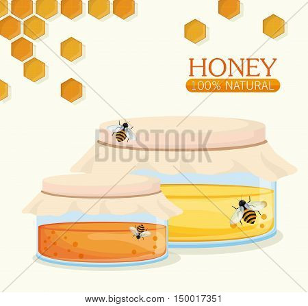 Honeycomb jar and bees icon. Honey healthy and organic food theme. Colorful design. Vector illustration