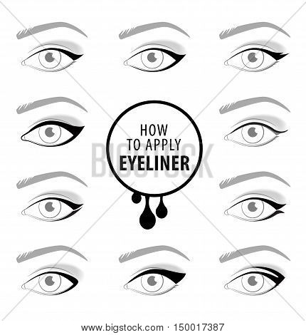 Various types of eyeliner, vector set tutorial