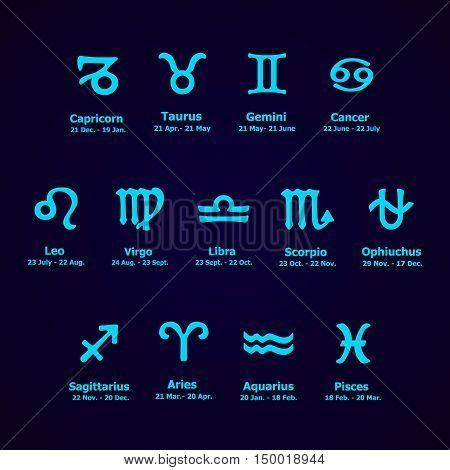 Zodiac Icons. Horoscope Set.